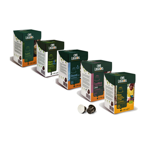 Nespresso® Compatible Balanced Sample Pack - 5x10 pods of different varieties - Café Liégeois