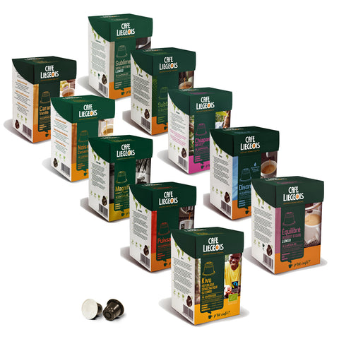 Nespresso® Compatible Biggest Sample Pack - 10x10 pods of different varieties - Café Liégeois
