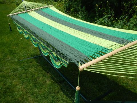 Handwoven Family Hammock (Shades of Green)