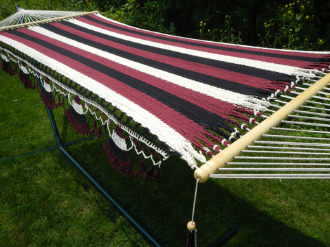 Handwoven Family Hammock (Black, Maroon, and White)