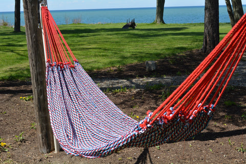 Traditional Handwoven Hammock(Blue, Red, Black, and White)