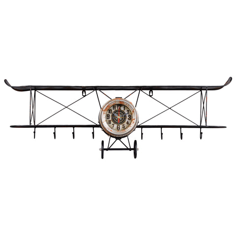Utopia Alley Biplane Wall Clock, Distressed Black, Antiqued Finish