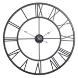 "Utopia Alley Oversized Roman Round Wall Clock, 30"", Distressed Black Finish"