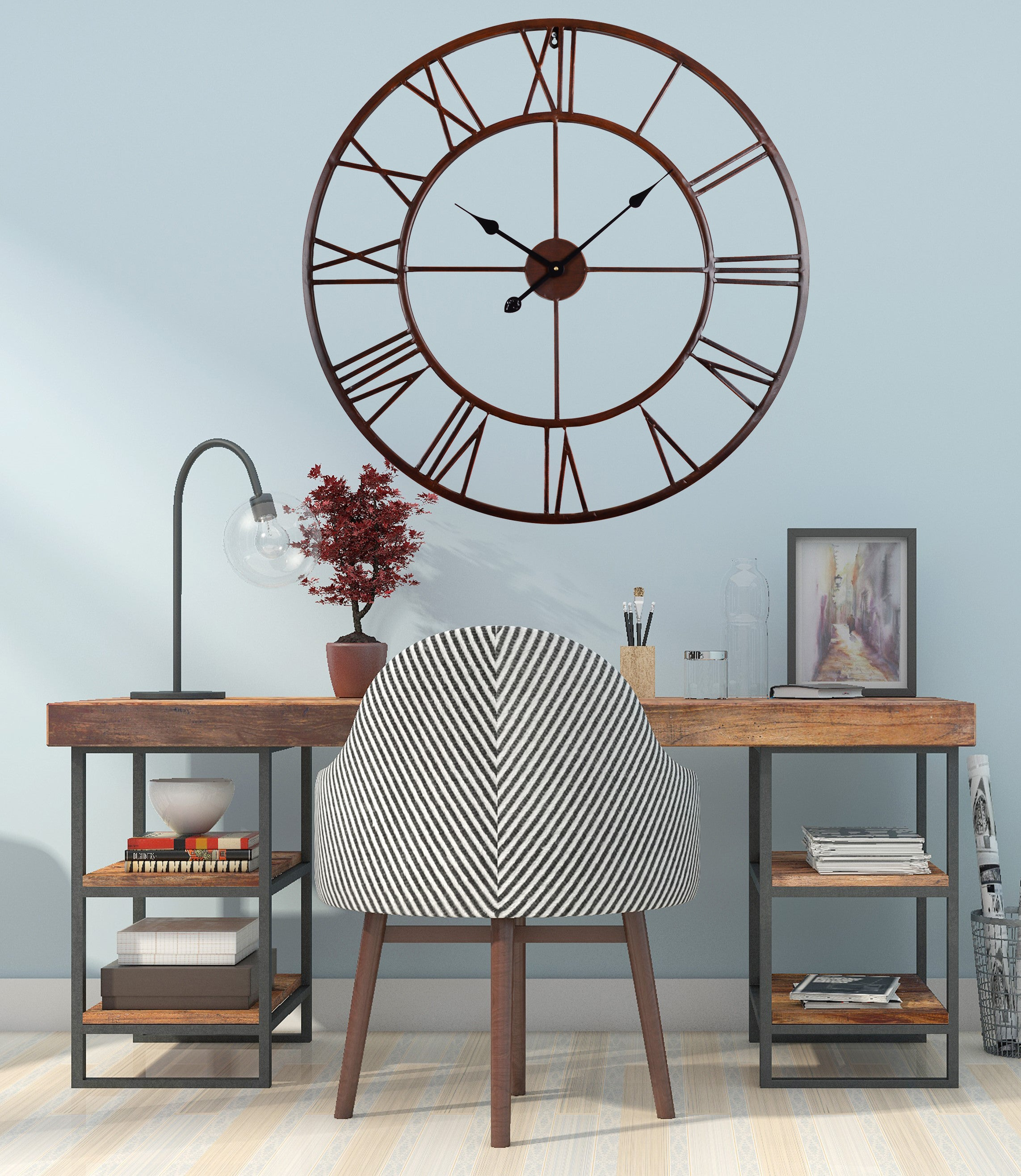 industrial rustic wall clock analog 31 in distressed bronze utopia alley