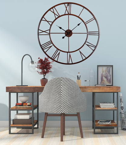 "Roman Round Clock, Distressed Finish, 30"", Metal, Bronze"