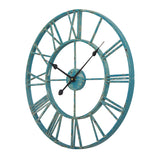 "Utopia Alley Roman Round Wall Clock, 24"" Diameter, Bronze/Distressed white/Distressed light sea green/Gray/Navy blue/Gold Finish"