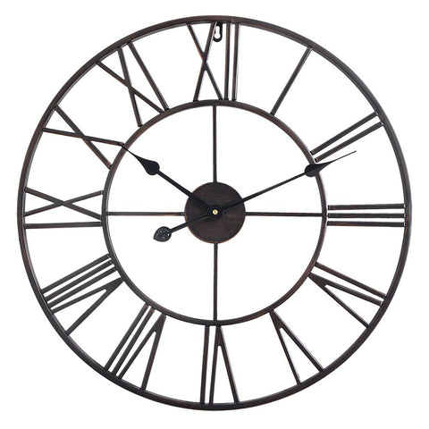 "Roman Round Wall Clock, 24"" Diameter, Bronze Finish"