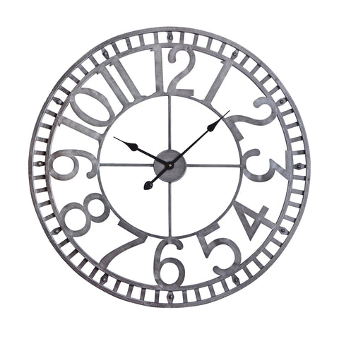 "Utopia Alley Manhattan Industrial Wall Clock, 32"" Diameter, Pewter"
