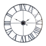 "Utopia Alley Rivet Edge Roman Industrial Wall Clock, 32"" Diameter, Pewter"