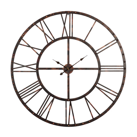 "Utopia Alley Oversize Rivet Roman Industrial Wall Clock, 45"" Diameter, Antique Bronze"