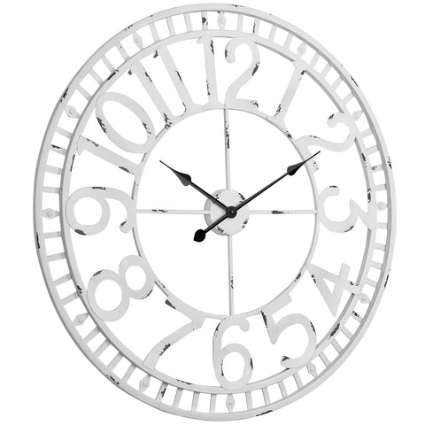 Utopia Alley Manhattan Industrial Wall Clock, Analog, White, 32""