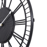 "Utopia Alley Oversize Roman Round Wall Clock, 28"" Diameter, Matte Black Finish"