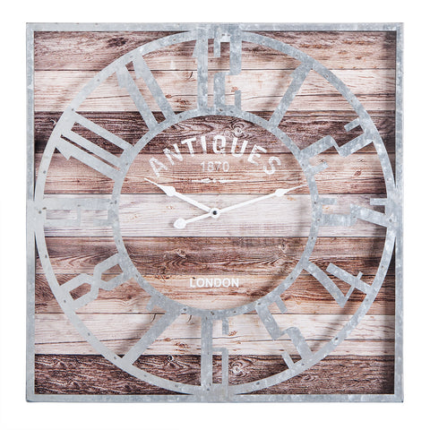 "Oversize Roman Square Wall Clock, 24"" Diameter Clock Face, Multi-Tone Wood Finish"