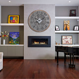 "Utopia Alley Oversize Roman Round Wall Clock, Gray Wood Finish, 28"" Diameter"