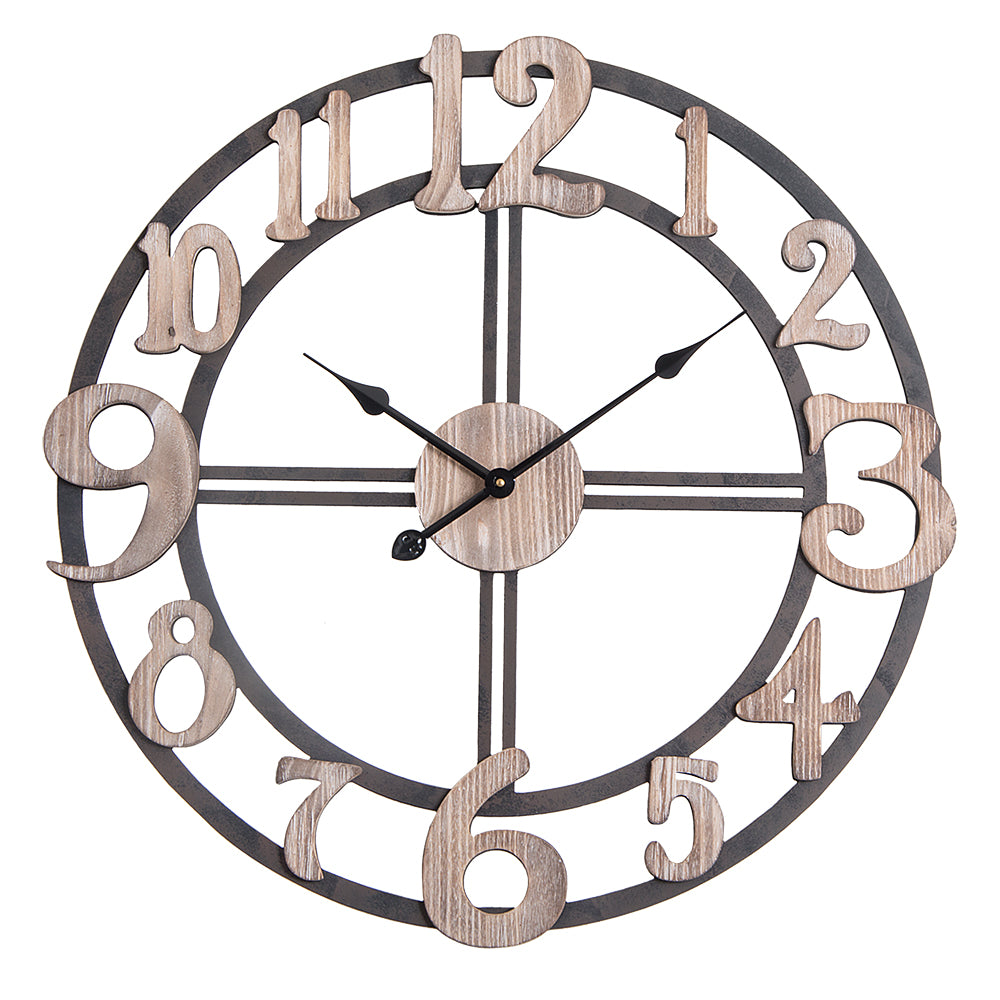 oversized roman round wall clock 28 in multi tone wood finish