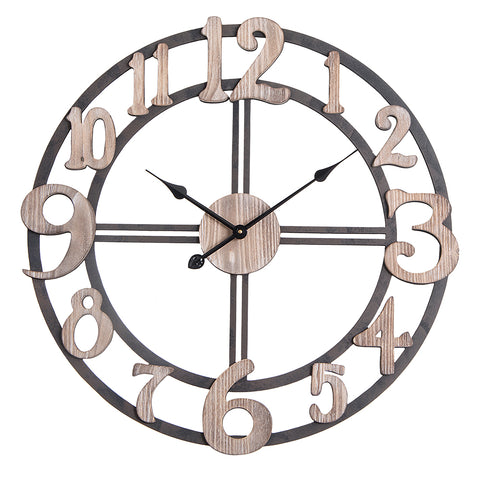 "Utopia Alley Oversize Roman Round Wall Clock, 28"" Diameter, Multi-Tone Wood Finish"