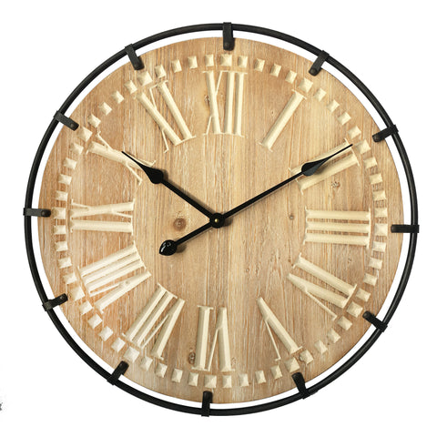 "Utopia Alley Oversize Roman Round Wall Clock, 24"" Diameter, Light Wood Finish"