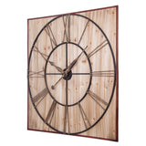 "Utopia Alley Oversized Roman Square Wall Clock, 47"" Diameter, Wood Finish"