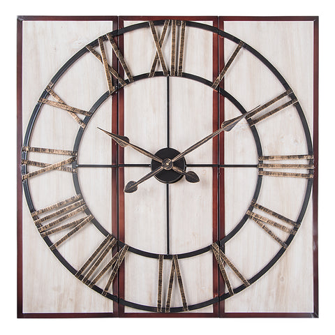 "Utopia Alley 3-Piece Oversized Roman Square Wall Clock, 32"",  Wood Finish"
