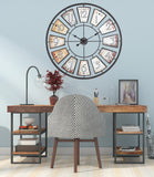 "Utopia Alley 35"" Metal Wall Clock with Black Frame and Colored Panels"