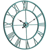 Utopia Alley Oversized Roman Round Wall Clock, Distressed Sea Green, 30""