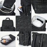Textured Baby Diaper Bag, Waterproof with Changing Mat, Pockets, and Insulated Pouch, Black