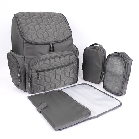 Textured Baby Diaper Bag, Waterproof with Changing Mat, Pockets, and Insulated Pouch, Gray