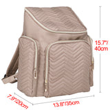 Textured Chevron Baby Diaper Bag, Waterproof with Changing Mat, Pockets, and Stroller Straps, Khaki