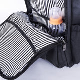 Waterproof Baby Diaper Bag with Changing Mat, Pockets, and Stroller Straps, Black