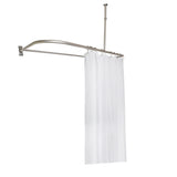 Utopia Alley Rustproof Aluminum D-shape Shower Rod With Ceiling Support for Freestanding Tubs, 60 Inch Large Size by 25 Inch