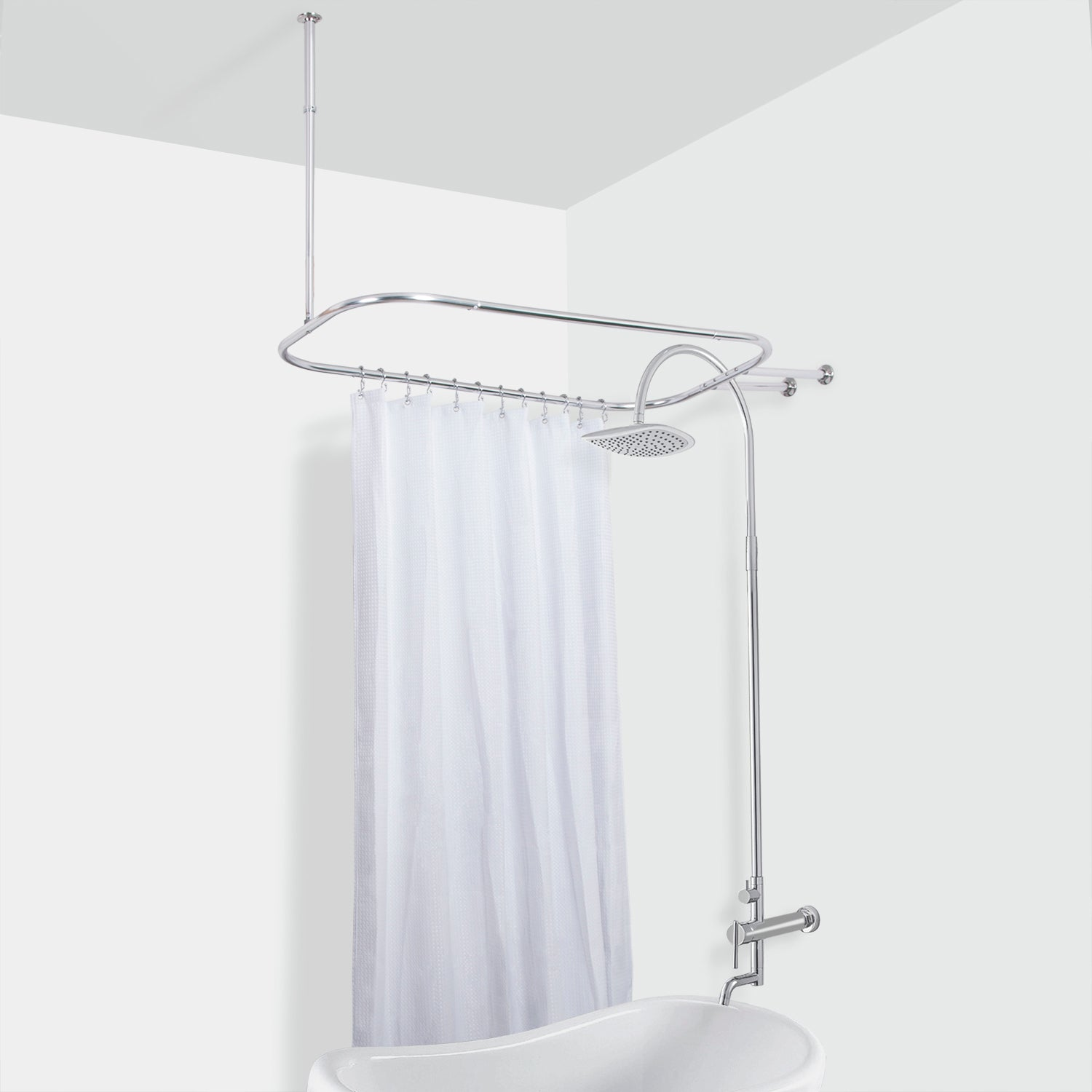 Rustproof Hoop Shower Rod For Clawfoot Tub  Utopia Alley