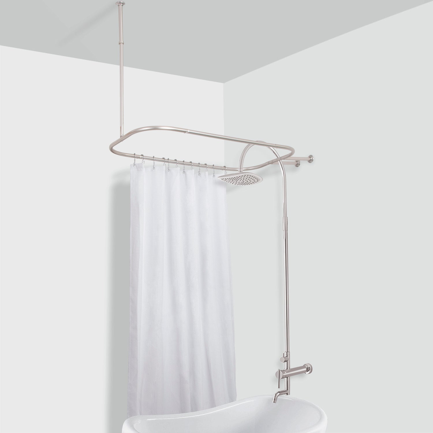 Superieur Rustproof Hoop Shower Rod For Clawfoot Tub