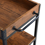 Utopia Alley Rustic, Industrial Bar Cart with Removable Top Tray and Wine Bottle Holder, Space Saving Design