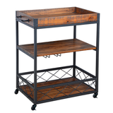 Utopia Alley Rustic, Industrial Bar Cart with Removable Top Tray, Space Saving Design