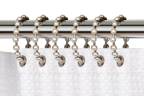 Utopia Alley Shower Curtain Rings,  Shower Curtain Rings for Bathroom Shower Rods Curtains - Set of 12- Brushed Nickel