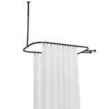 Utopia Alley Rustproof Aluminum Hoop Shower Rod With Ceiling Support for Clawfoot Tub, 46 Inch Size by 22 Inch
