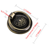 "Utopia Alley Medici Ring Pull, 1 5/8"" Diameter, Antique Brass"