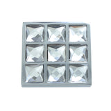 "Utopia Alley Gleam Grid 9 Crystal Square Cabinet Knob, 1.5"", Polished Chrome"