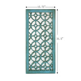 "Utopia Alley Morocco Distressed Decorative Wood Mirror, 31.5"" Sage Green/White"