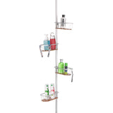 Utopia Alley Tia Rustproof Corner Tension Shower Caddy, Teak Shelves