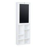 Utopia Alley Collapsible Fold Down Desk Wall Cabinet with Chalkboard and Bottom Shelves, White