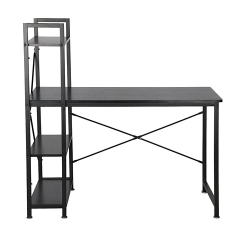 Utopia Alley Modern Style Computer Desk with 4 Tier Attached Bookshelf, Black