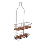 Utopia Alley Tia Rustproof Over the Shower Caddy, 2 Teak Shelves