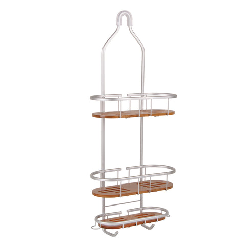 Utopia Alley Tia Rustproof Over the Shower Caddy, 3 Teak Shelves