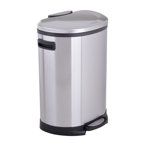 Utopia Alley Cress Contour Curved Trash Can, Stainless Steel, Set of 2, 6L and 50L