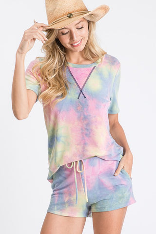Fashion District Tie Dye V Neck Short Sleeve Top and Short