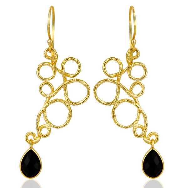 Mined Jewels - Black Onyx Squiggly Danglers