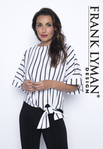 Frank Lyman Stripe Top with Side Tie