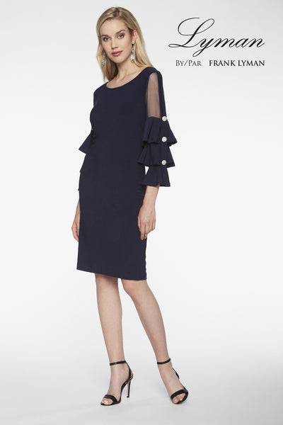 Frank Lyman Navy Embellished Sleeve Dress