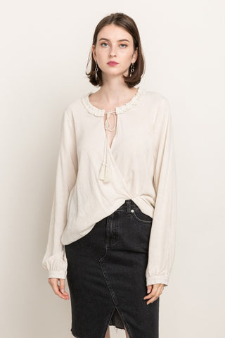 MYSTREE - LACE TRIM TOP WITH TIE NECK